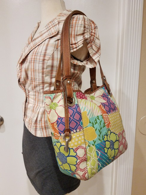 Fossil Painted Floral Shoulder Hand Euc Multi-color Leather Hobo Bag Fossil Painted Floral Shoulder Hand Euc Multi-color Leather Hobo Bag Image 2