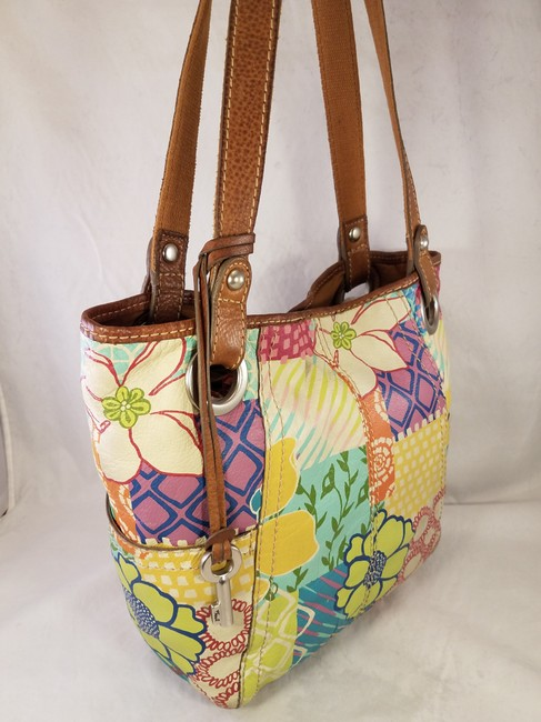 Fossil Painted Floral Shoulder Hand Euc Multi-color Leather Hobo Bag Fossil Painted Floral Shoulder Hand Euc Multi-color Leather Hobo Bag Image 4