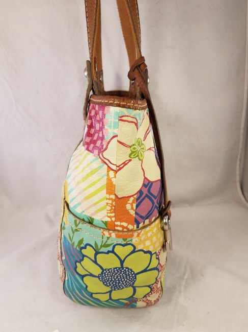 Fossil Painted Floral Shoulder Hand Euc Multi-color Leather Hobo Bag Fossil Painted Floral Shoulder Hand Euc Multi-color Leather Hobo Bag Image 5