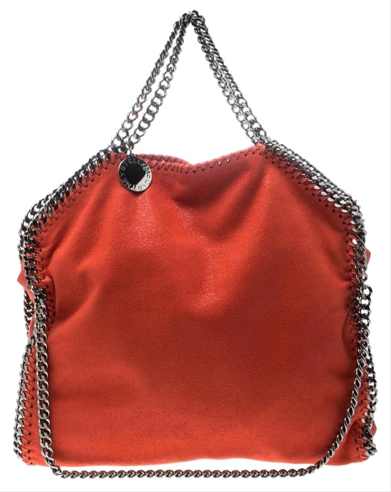 057a33cfed3a Stella McCartney Coral Small Falabella Orange Faux Leather Tote ...
