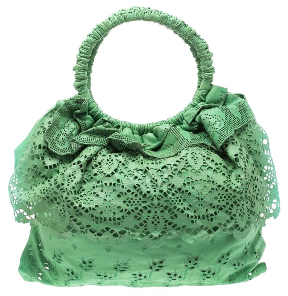 adb8b5ee8dcb Valentino Light Laser Cut Laceland Green Leather Hobo Bag - Tradesy