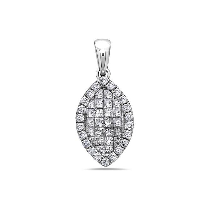 Item - 18k White Gold Leaf Women's Pendant with 1.10ct Diamonds