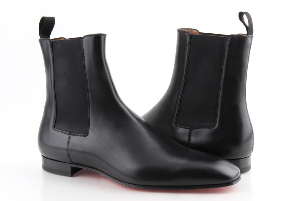 detailed look 86b79 4776e Christian Louboutin Black Roadie Flat Calf Boots Shoes 14% off retail