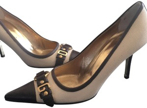 Dolce&Gabbana Off white fabric and dark brown leather Pumps