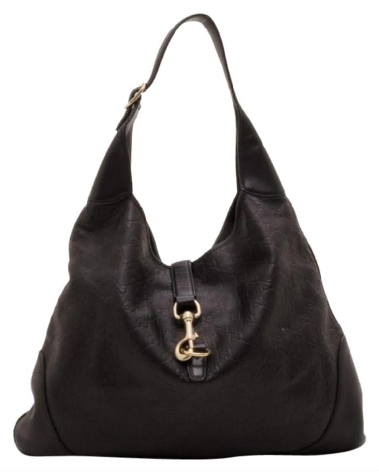 Gucci Jackie Guccissima New Black Leather Hobo Bag - Tradesy cfbd848221bed