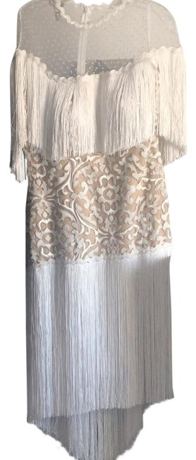 Item - White and Nude Handmade Inspired By Neem Khan Mid-length Cocktail Dress Size 8 (M)