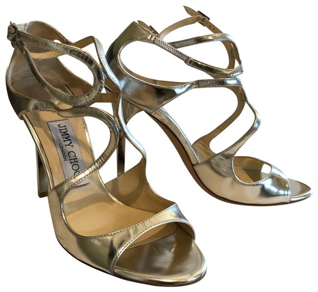 Item - Silver Mirrored Leather Metallic Sandals Wedges Size US 6 Regular (M, B)
