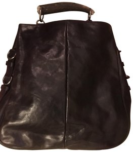 Saint Laurent Horn Handle With Tags Side Hardware Tom Ford Era Satchel in Burnished Chocolate Brown