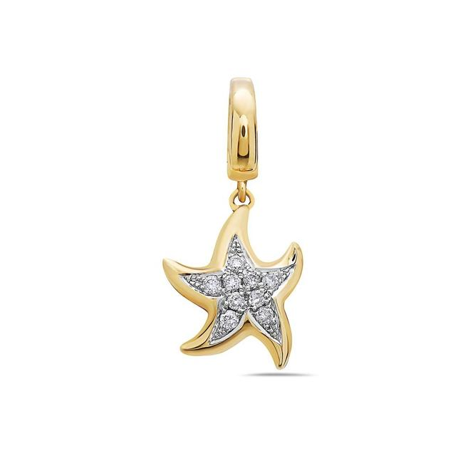 Item - 18k White Or 18k Yellow Gold Melted Star Women's Pendant with 0.12 Ct Diamonds
