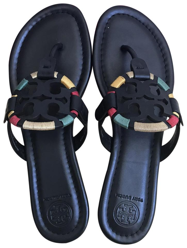0166e66f36b9 Tory Burch Black Embroidered 9.5m Miller Miller Sandals Size US 9.5 ...