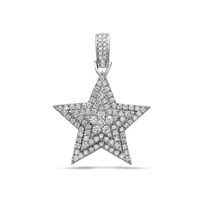 Item - 14k Yellow Gold Or 14k White Gold Star Women's Pendant with 1.35 Ct Diamonds