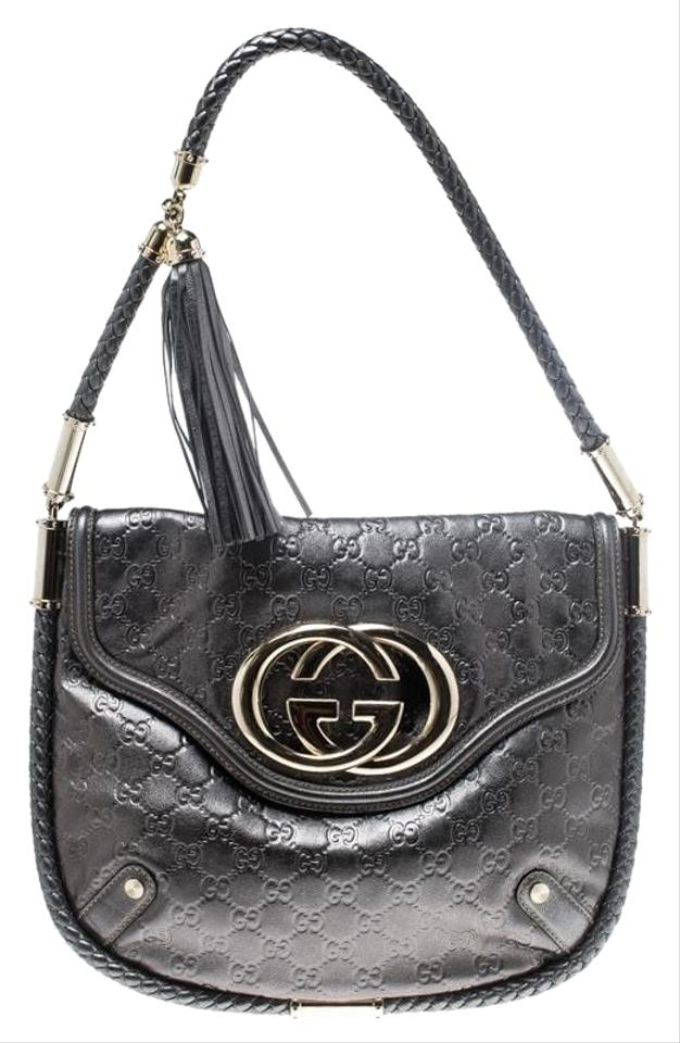 5a4b8772e7 Gucci Britt Metallic Medium Tassel Grey Leather Hobo Bag - Tradesy