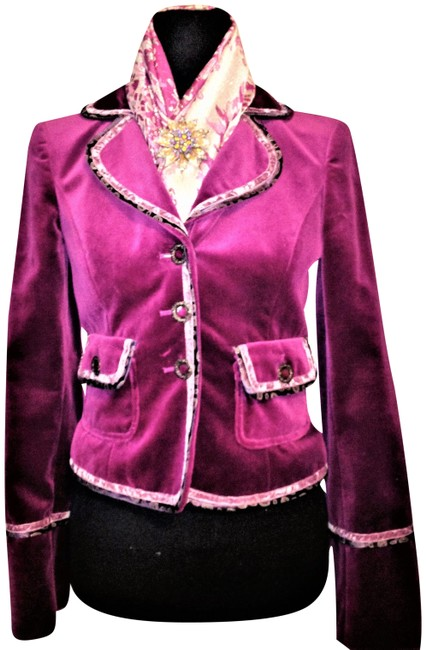 Preload https://img-static.tradesy.com/item/24807069/cynthia-steffe-purple-violet-velvet-velor-feel-cotton-with-brass-buttons-blazer-size-4-s-0-1-650-650.jpg