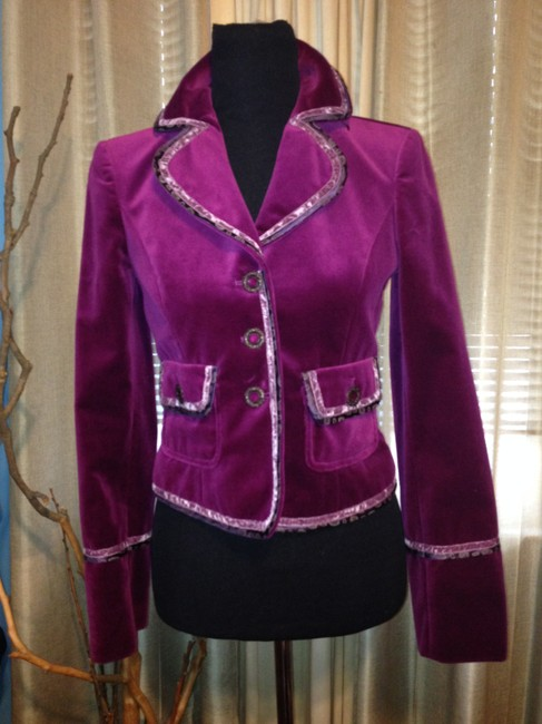 Cynthia Steffe Velvet / Velor Night Out Career Purple Violet Blazer Image 9