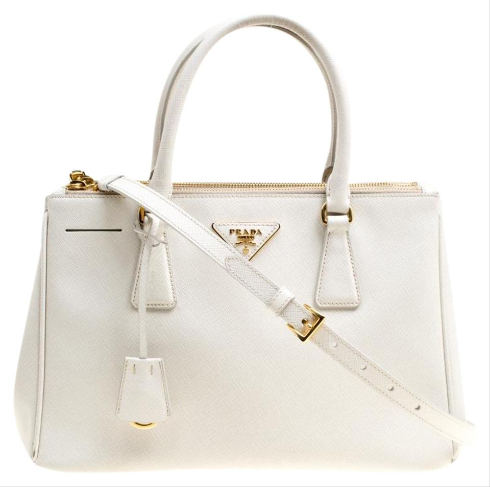 c54685e6889a8 Prada Double Lux Saffiano Medium Zip White Leather Tote - Tradesy