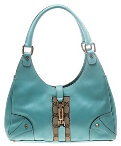 Gucci Leather Jackie Canvas Hobo Bag