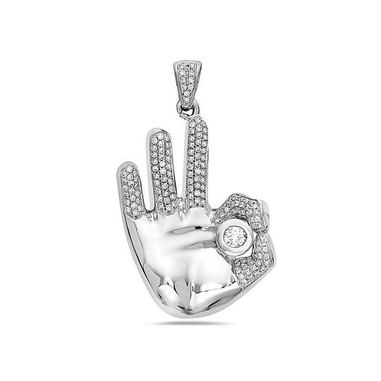 OMIjewelry 14K ROSE OR WHITE GOLD OM HAND WOMEN'S PENDANT WITH 0.76 CT DIAMONDS Image 3