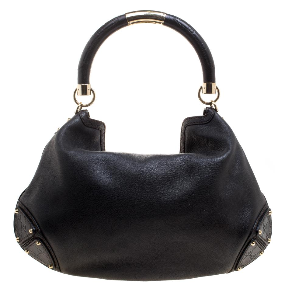 bce5bf5e8 Gucci Indy Large Top Handle Black Leather Shoulder Bag - Tradesy