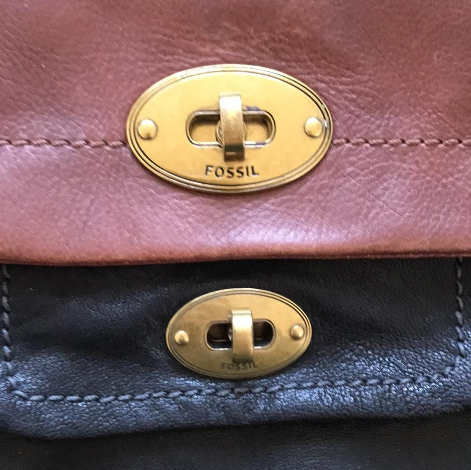 89cfc5370df2 Fossil Work Black and Brown Leather Cross Body Bag - Tradesy
