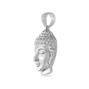 OMIJewelry 14K WHITE GOLD BUDDHA WOMEN'S PENDANT WITH 0.90 CT DIAMONDS
