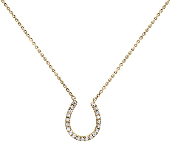Item - 18k Yellow Gold Horseshoe Women's Necklace with 0.17 Ct Diamonds