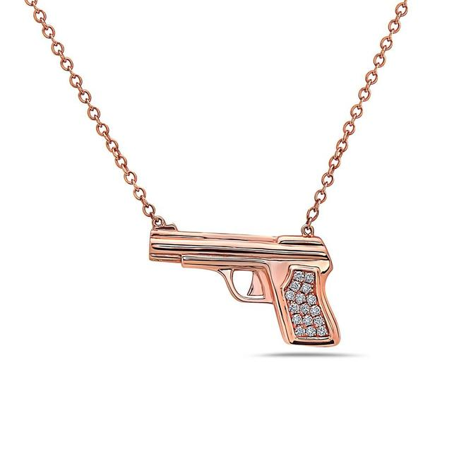 Item - 18k Rose Gold Gun Women's Necklace with 0.25 Ct Diamonds