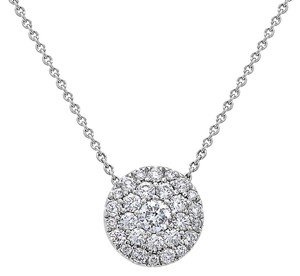 OMIJewelry 18K WHITE GOLD FULL DISK WOMEN'S NECKLACE WITH 0.97 CT DIAMONDS