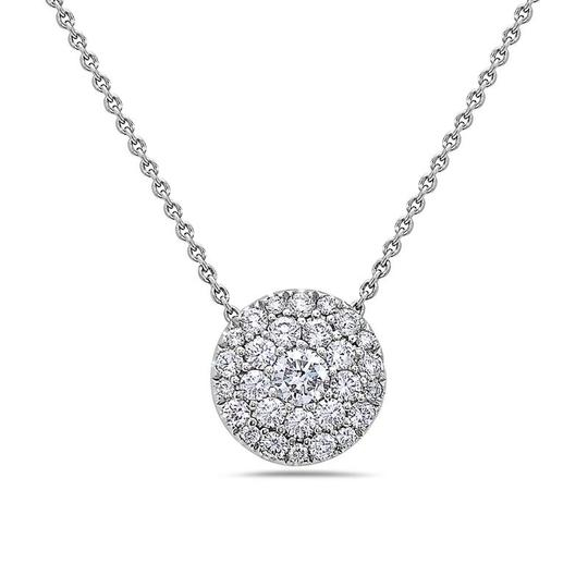 OMIJewelry 18K WHITE GOLD FULL DISK WOMEN'S NECKLACE WITH 0.97 CT DIAMONDS Image 2