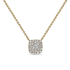 OMIJewelry 18K YELLOW GOLD SQUARE WOMEN'S NECKLACE WITH 0.51 CT DIAMONDS