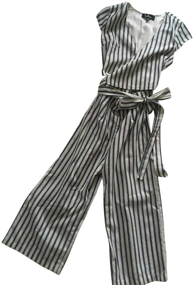 92833ba77f8 Lulu s White Jetset To Go Blue and Striped Wrap Culotte Romper Jumpsuit