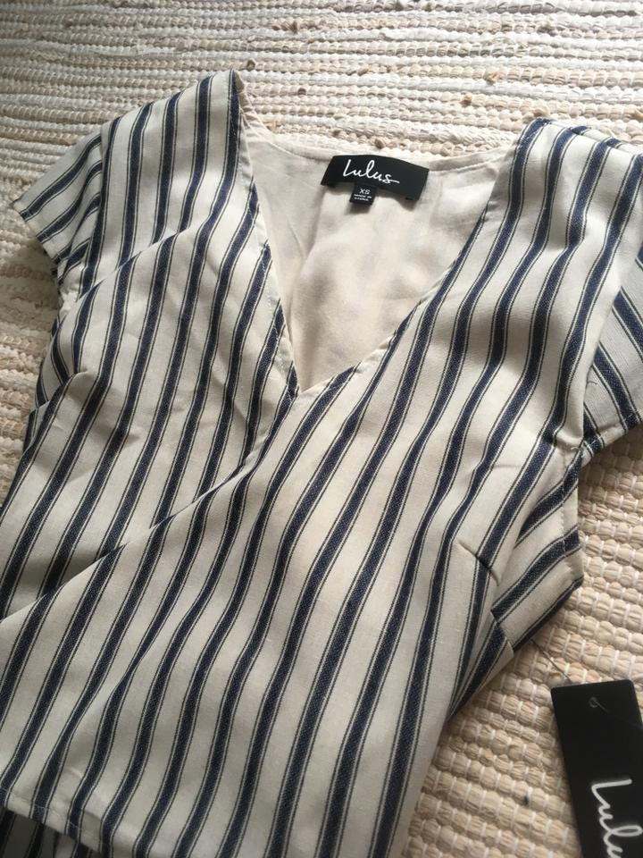 0dd51f4e6ed Lulu s White Jetset To Go Blue and Striped Wrap Culotte Romper ...
