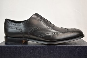 Prada Black Leather Lace Up Wingtip Perforated Brogues Oxfords 10.5 11.5 Shoes