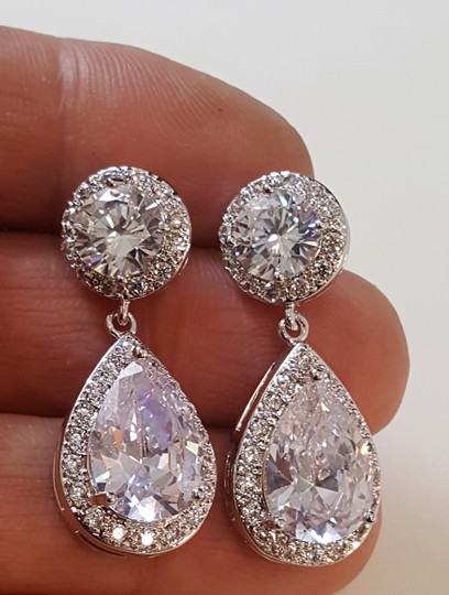Silver Finish Romantic Classic Plated Tear Drop Earrings Image 0