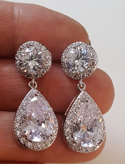 Silver Finish Romantic Classic Plated Tear Drop Earrings Image 1