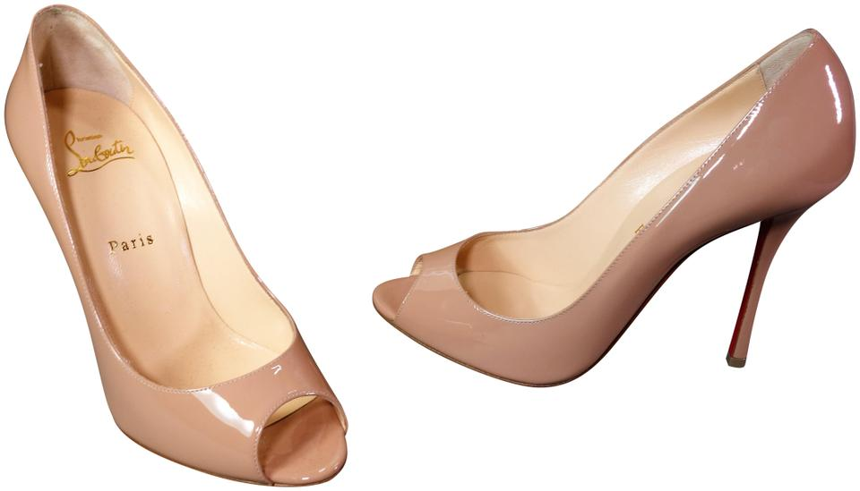 buy online f14f3 03644 Christian Louboutin Nude Beige Yootish 100 Patent Leather Open Peep Toe  Pumps High Heels New Mules/Slides Size EU 39.5 (Approx. US 9.5) Regular (M,  B)