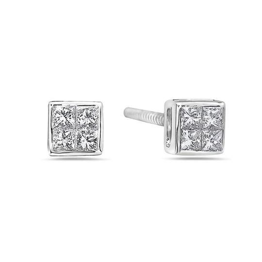 OMIJewelry 14K WHITE GOLD LADIES EARRINGS WITH 0.30 CT DIAMONDS Image 2