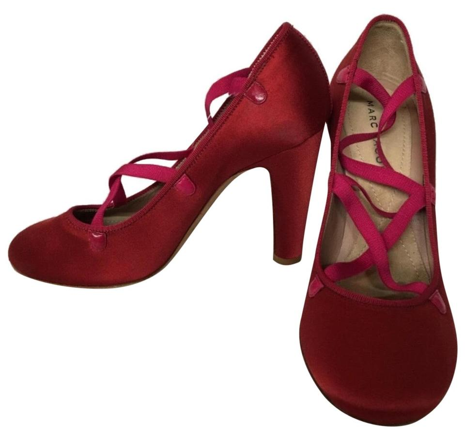 3f61d2471f4 Marc Jacobs Red Satin Strappy Closed Heel Formal Shoes Size US 6.5 ...