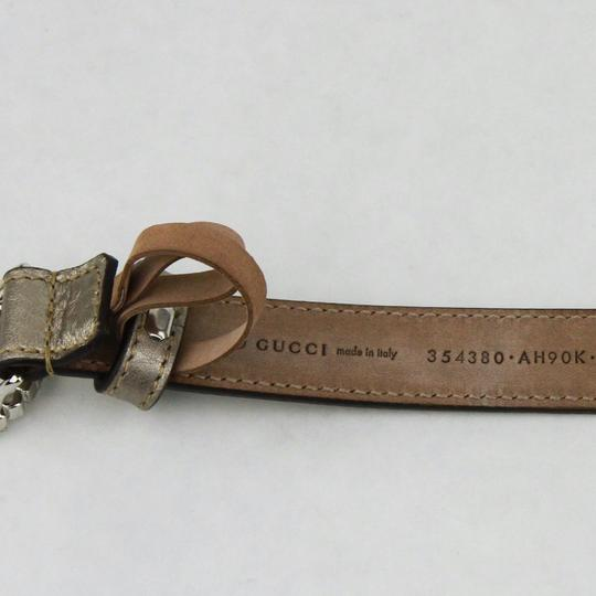 Gucci Metallic Leather Skinny Belt Interlocking G Buckle 105/42 354380 9524
