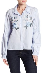 Sanctuary Embroidered Balloon Sleeve Button Down Shirt Blue