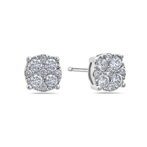 OMIJewelry 14K WHITE GOLD LADIES EARRINGS WITH 0.50 CT DIAMONDS