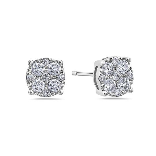 OMIJewelry 14K WHITE GOLD LADIES EARRINGS WITH 0.50 CT DIAMONDS Image 2