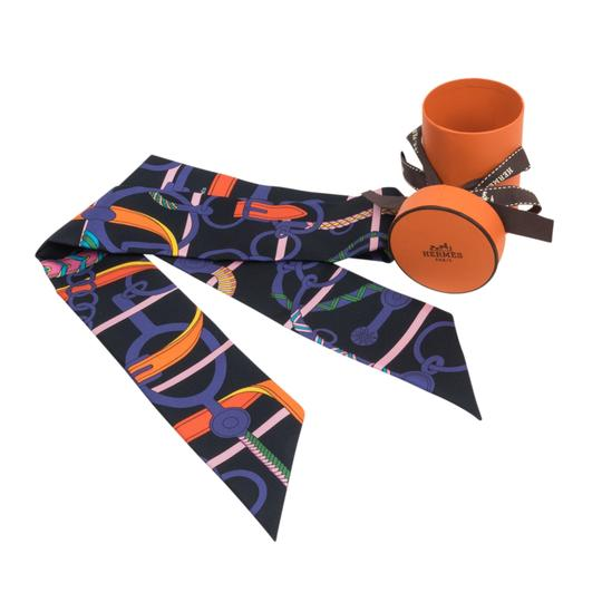 Hermès Hermes Twilly Silk Panoplie Equestre Cabon Violet Orange Set of 2 Image 1