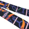 Hermès Hermes Twilly Silk Panoplie Equestre Cabon Violet Orange Set of 2 Image 4