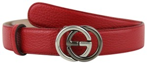 Gucci Leather Belt w/Silver/Black Interlocking G Buckle 105/42 295704 6420