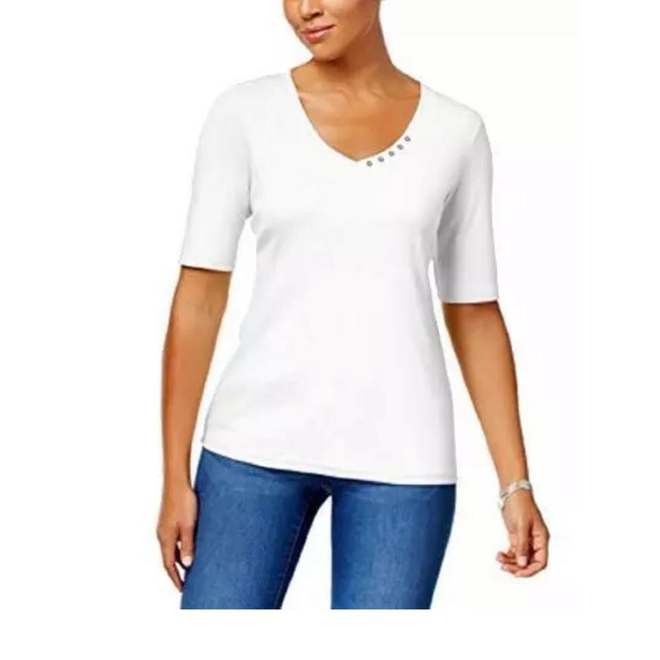 a5cc3d50dc6 Karen Scott White Elbow Sleeve Tee Shirt Size 16 (XL