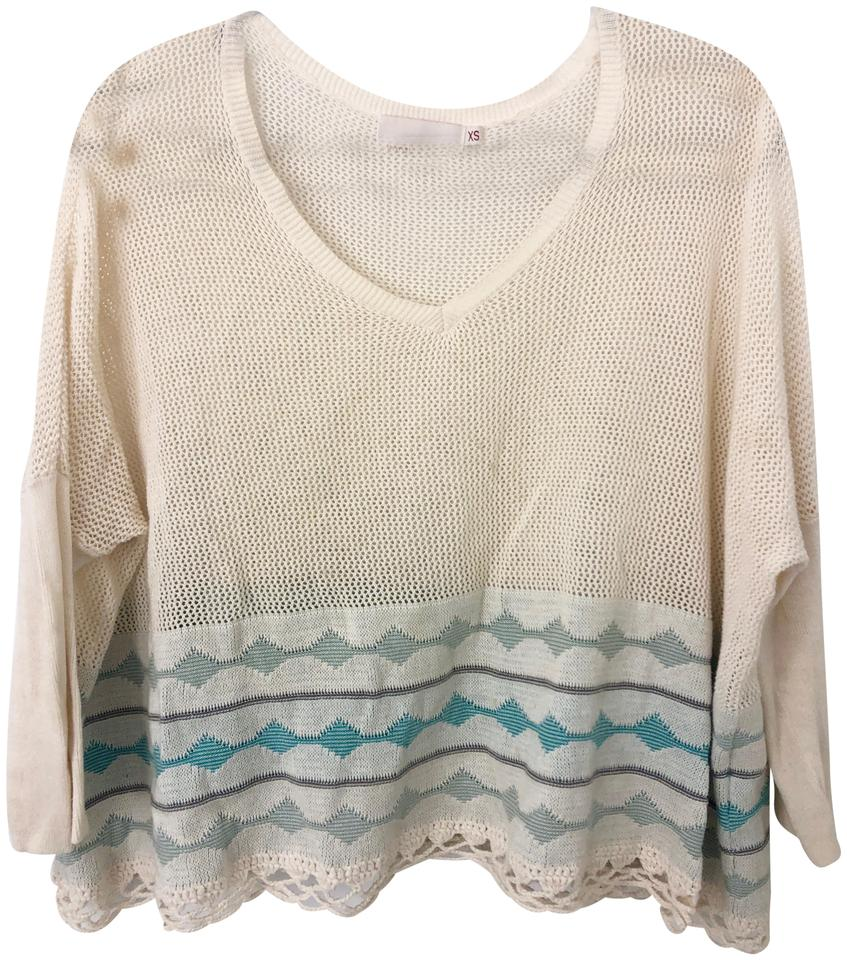c3206d4c1aa Yoon Anthropologie Cream and Turquoise Sweater 61% off retail
