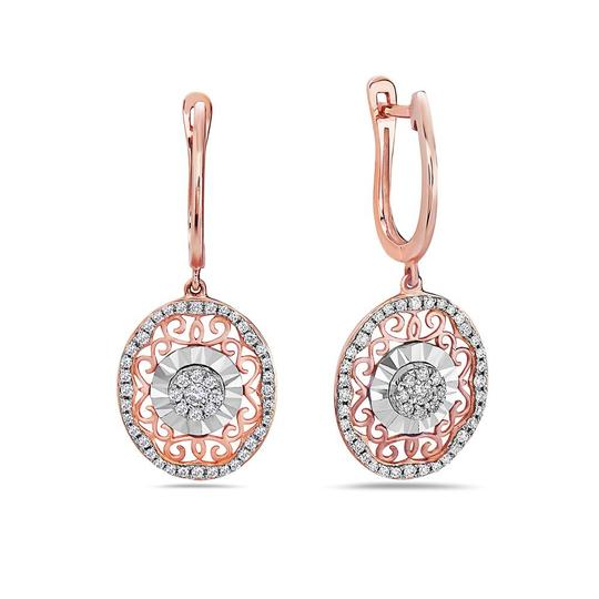 OMIJewelry 18K ROSE GOLD LADIES EARRINGS WITH 0.44 CT DIAMONDS Image 2