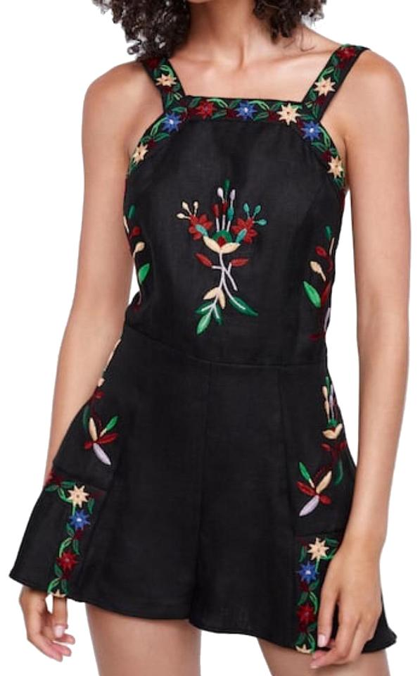 Zara Black New Embroidered Overall Shorts Romper/Jumpsuit