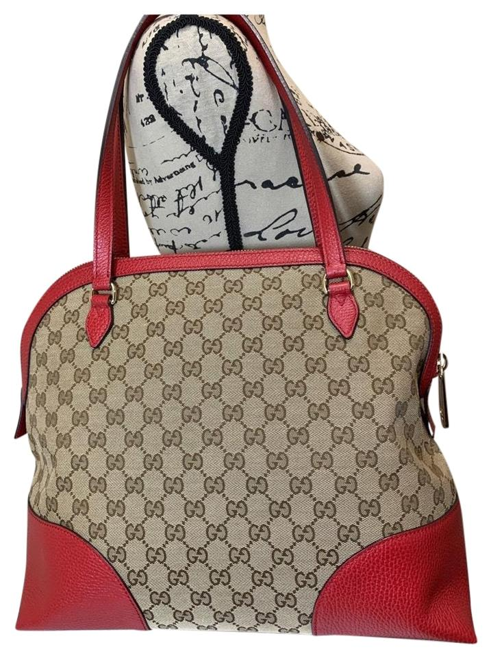 Gucci Outlet Leather Red Canvas Hobo Bag