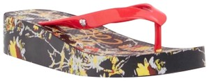 Sam Edelman Red, Black Print Sandals
